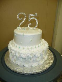 25th Wedding Anniversary Cake, Silver Anniversary Cake