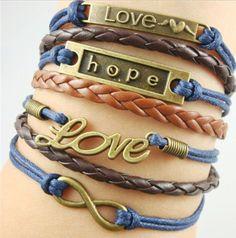 Love Bracelet Hope Infinity Leather Cuff by sherrishempdesigns