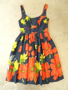 Floating Poppy Dress in Navy, $42