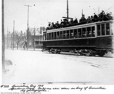 Photos of Toronto's Spadina Avenue, starting from the This one, from Armistice day, shows soldiers celebrating atop a streetcar. Another features a smoky Toronto skyline behind the foundations of Casa Loma. Toronto Street, Toronto City, Toronto Skyline, West Village, Gta, Soldiers, Ontario, Vintage Photos, Trains
