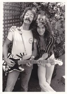 Eddie Van Halen with the dude that interviewed him in 1978. Whoa! Eddie has a camel toe!! 1st time I've seen a dude have a camel toe!