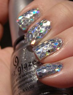 sparkly mermaid nails, so awesome! French Nails Glitter, Sparkly Nails, Fancy Nails, Love Nails, Glitter Nails, Silver Nails, Cut Nails, Shiny Nails, Silver Glitter