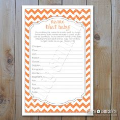 Baby Shower Game Card / Name That Baby Game / by fancyshmancynotes, $5.00