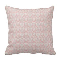 Damask Grade A Cotton Pillow Pillows Pink and Gray