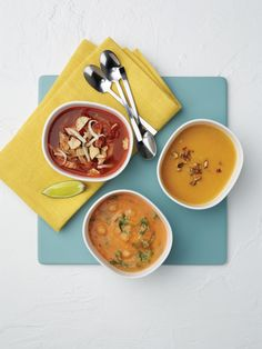 """Soup Trio (Chickpeas with Greens, Fall Butternut Squash, Tortilla) from """"The Smart Shopper Diabetes Cookbook"""" -- smart strategies to create healthful, delicious meals in half the time."""