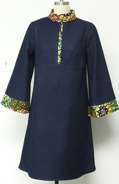 Denim and African Print A-line Dress. Sleeves. Knee-length dress. Handmade. Womens Dresses.
