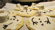 Melting Snowmen Cookies!! Snowman Cookies, Snowmen, Sugar, Desserts, Food, Tailgate Desserts, Deserts, Snowman, Meals