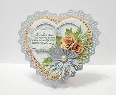 Galeria Papieru: Serce z falbanką - kurs Card Creator, Scrapbook Paper Crafts, Scrapbooking, Shabby Vintage, Anniversary Cards, I Card, Cardmaking, Decorative Plates, Arts And Crafts