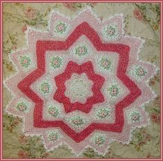 dogwood blossom 8-16 point round ripple afghan - This is my original pattern, currently available for FREE! Enjoy! Follow me on Facebook - https://www.facebook.com/crochetbymonica