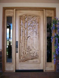 Amazing front door wood carving.