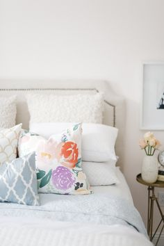 Mismatched printed pillows