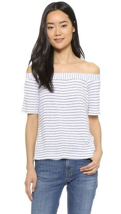 Striped off the shoulder tee currently 25% off