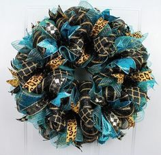 Teal Storm Jacksonville Jaguars inspired by SugarlumpHillWreaths