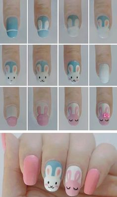 Cute Easter Bunny Nail Art