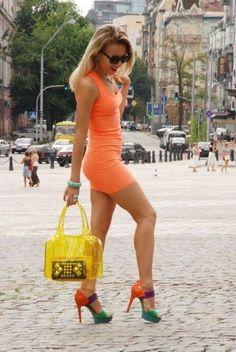 Orange neon party dress