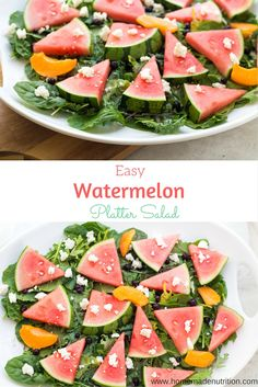 These easy summer platter salad featuring fresh watermelon is the perfect fresh seasonal dish to bring to bring to parties! It's simple, refreshing, and easy to customize to your taste! Healthy Stew Recipes, Fresh Salad Recipes, Side Salad Recipes, Salad Recipes For Dinner, Healthy Summer Recipes, Real Food Recipes, Yummy Recipes, Soup Recipes, Roasted Veggie Salad