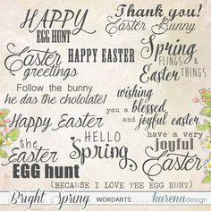 Bright Spring Wordart Set by karena design Bright Spring, Egg Hunt, Spring Collection, Happy Easter, Joy, My Love, Design, Products, Happy Easter Day