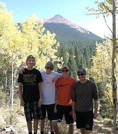 Fountain Valley School of Colorado ~ Mr. and Mrs. Doyon took Connor A., Aubrey L. and Doug. A. hiking near Cripple Creek last weekend. That's Sentinel Point in the background.