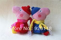 Free shipping new  design winter  peppa  pig toys george pigs with scarf  quite lovely  retail and wholesale $14.75 George Pig, Dora The Explorer, Peppa Pig, Pigs, Dinosaur Stuffed Animal, Childhood, Retail, Teddy Bear, Cartoon