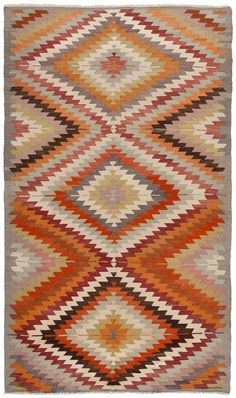Vintage Moroccan Rug, Geometric pattern with rich earth colours Textiles, Textile Prints, Textile Patterns, Print Patterns, Deco Boheme, Rugs On Carpet, Carpets, Kilim Rugs, Vintage Rugs