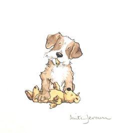 Eating Teddy by Anita Jeram Animal Drawings, Cute Drawings, Dog Drawings, Anita Jeram, Photo Images, Cartoon Dog, Watercolor Animals, Children's Book Illustration, Caricatures