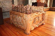 Chess anyone? Great wood working art work
