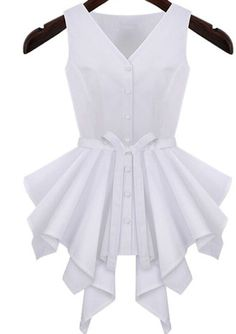 Shop White V Neck Sleeveless Ruffle Buttons Top online. SheIn offers White V Neck Sleeveless Ruffle Buttons Top & more to fit your fashionable needs. Latest Fashion For Women, Womens Fashion, Mode Chic, White V Necks, Cute Tops, African Fashion, Blouse Designs, Blouses For Women, Cheap Blouses