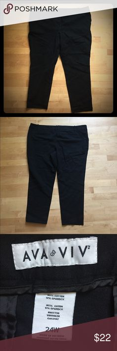 Black Ava & Viv Cotton (Stretch) Capri Pants Black cotton capri pants (95% cotton and 5% spandex), they have a little stretch to them, and are in excellent condition. One of the pockets is still sewed together. The back pockets are faux pockets. Size 24W. Please make an offer and feel free to ask me a question about these sweet capris. Ava & Viv Pants Capris