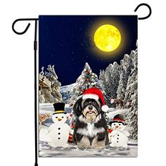 PrintYmotion Havanese Dog with Snowman Christmas Holidays Garden Flag, Dog Lovers Gift (12 x 18 Inches) PrintYmotion #Havanese #Dog Lovers gift #Christmas Gift #Christmas Flag