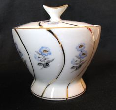 Vintage Sugar Bowl with Blue Flowers Made in Japan