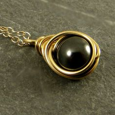 Black Pearl Necklace Gold Fill Jewelry Gifts for Her Wire Wrapped Necklace Swarovski Pearl Necklace Ready to Ship Eco Friendly Jewelery by adorned7 on Etsy