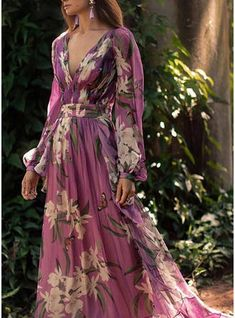 Women Sexy Floral Printed V-Neck Evening Party Dress – Prilly Solid Wrap Long Sleeve Maxi A-line Dress – Prilly maxi dresses maxi skirt outfit maxi dress outfit maxi dress summer maxi dress casual long dress casual summer dress outfit Long Sleeve Floral Dress, Long Sleeve Maxi, Maxi Dress With Sleeves, Floral Maxi Dress, Chiffon Dress, Pleated Maxi, Floral Chiffon, Dress Red, Long Sleeve Dresses