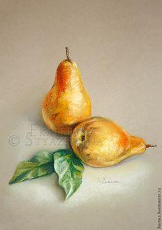 Купить Грушевый этюд. Пастель. - желтый, груша, пастель, спелая, спелый, плоды, листья, рисунок