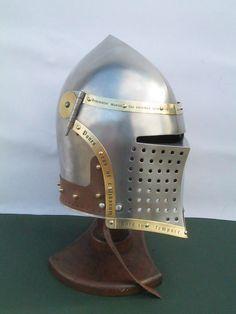 Interpretation of a 14th century  frog/plow visored bascinet.