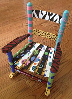 Adorable Whimsy Hand Painted Child's Rocker Persoanlized Chair on Etsy, $129.00
