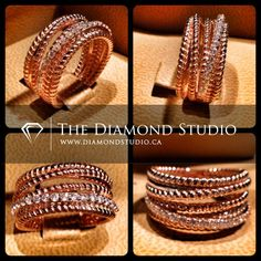 Several intertwined rows of vintage beaded wire are combined to create a single, modern band. Made in 14kt rose gold, and accented with one row of diamonds for that flirty hint of bling. This style is so hot right now! Would you rock this Diamond Studio design? #diamonds #weddings #engagementring #ring #rings #jewellery #jewelry #rosegold #thediamondstudio