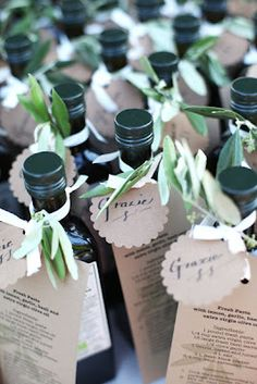 Infused oils with recipes as wedding favors // via The Weddings Magazine Blog