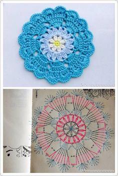 Ideas for crochet patrones ganchillo carpetas Motif Mandala Crochet, Crochet Coaster Pattern, Crochet Circles, Crochet Flower Patterns, Crochet Diagram, Crochet Chart, Crochet Flowers, Crochet Stitches, Point Granny Au Crochet