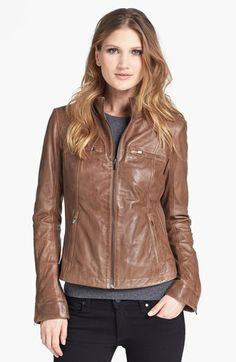 La Marque Ribbed Side Leather Jacket available at #Nordstrom