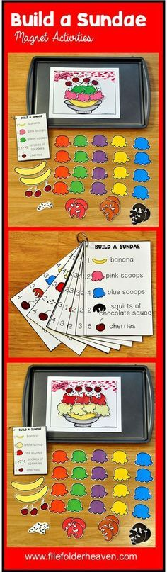 These Build a Sundae Center Activities can be set up as cookie sheet activities, a magnet center, or math center. This set includes 1 building mat, 14 build a sundae instruction cards, and lots of build a sundae building pieces (all in color). In this act