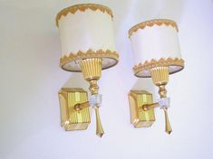PAIR French Mid Century Wall Lights-Pair Hollywood Regency Sconces - Fabric Shades with Gold Trim- Pair Mid Century Sconces -Great Condition