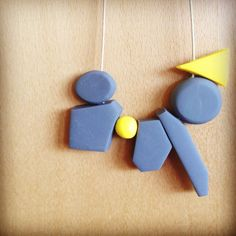 Grey and Vibrant Yellow Geometric Polymer Clay by yellowbetty, $35.00