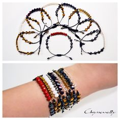 JEWELRY | Chryssomally || Art & Fashion Designer - Sparkling crystal and hematite bracelets in gold, silver, white, smoke, purple, red and grey hues