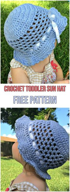 Crochet Toddler Sun Hat Free Pattern #crochet #crochetpattern #freepattern #hat #toddler #baby #babyclothes #sunny #blue #bow