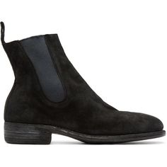 Guidi Black Suede Chelsea Boots (7,060 CNY) ❤ liked on Polyvore featuring men's fashion, men's shoes, men's boots, mens round toe cowboy boots, mens black boots, mens suede boots, mens black suede shoes and mens suede shoes