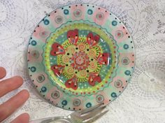 Charming Small Tapas Plate Floral Pink And Red por pamdesign