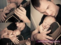 aww. guitar newborn photography. So much better than when baby is proped on daddy while he is glued to the video game controller and tv!!! So sweet!!!