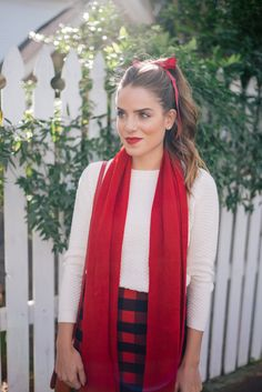 Gal Meets Glam Holiday Red - Old Navy sweater, skirt, scarf & tights, c/o
