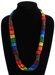 """Glass Beaded Clusters and Strands Magnetic Clasp 30"""" Long Rainbow Multicolored Necklace Handcrafted Zulu - Sanyork Fair Trade"""