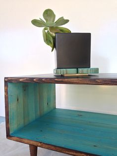Coffee Table-handmade Mid Century Modern Light Teal And Chocolate Brown (or…